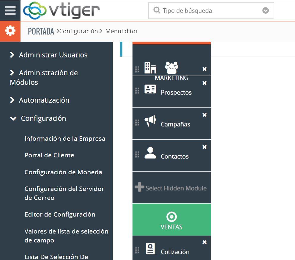 Configuración Del Menú De Navegación En Vtiger 7